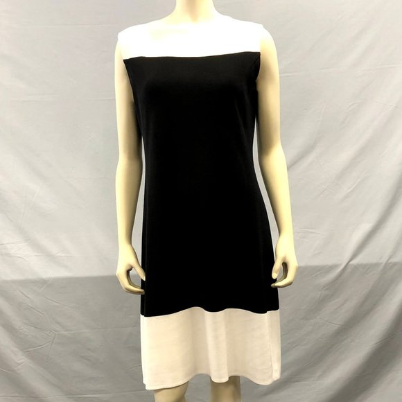Misook Dresses Misook Black White Knit Aline Dress Size Med Poshmark